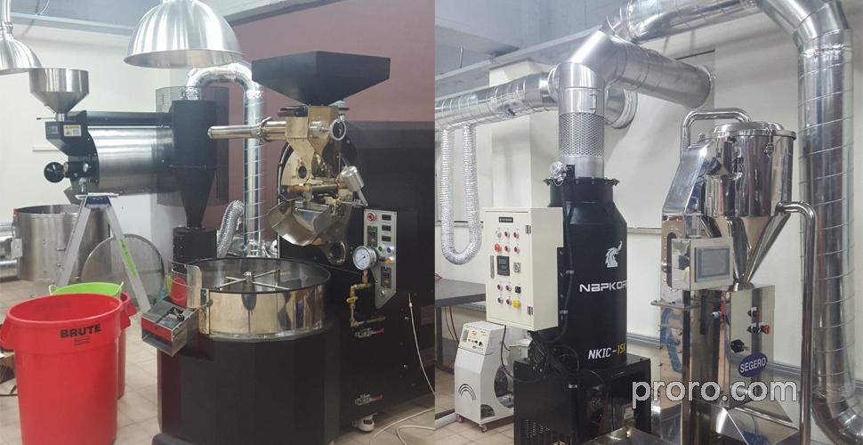 BUHLER 布勒咖啡烘焙机 安装  除烟消味 后燃机 案例 - coffee_shinhwa 咖啡烘焙工厂