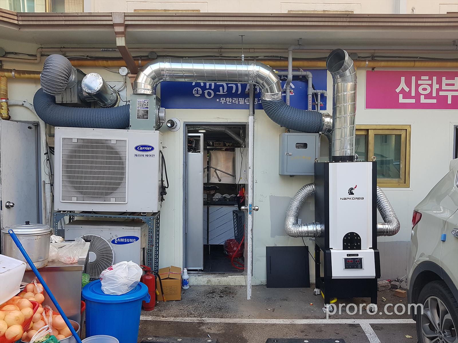 生肉制作所(烤肉店)安装 NKIC-10K(10公斤)餐饮油烟净化器 安装案例。